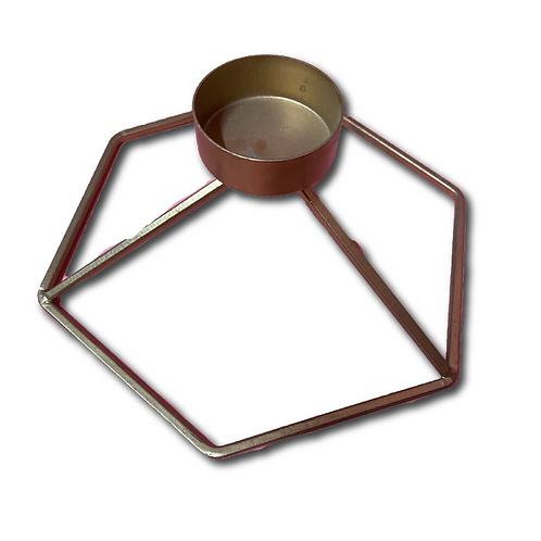 Geometric Tealight Holder -Gold