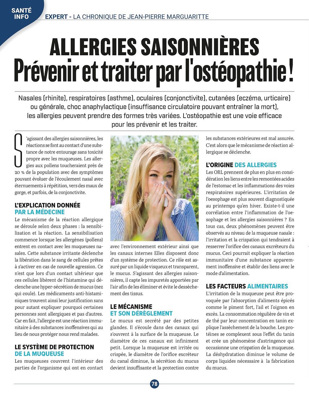 article JP Marguaritte allergies
