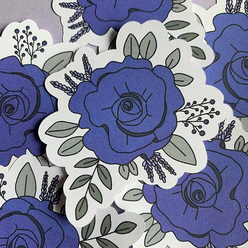 Matte Purple Floral Die Cut Sticker