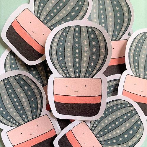 Matte Pink Happy Cactus Die Cut Sticker