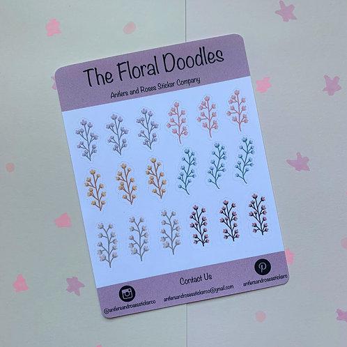 Matte Floral Doodles Sticker Sheet