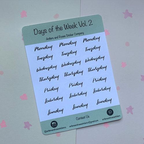 Matte Days of the Week Volume Two Sticker Sheet