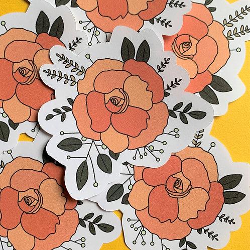 Matte Orange Floral Die Cut Sticker