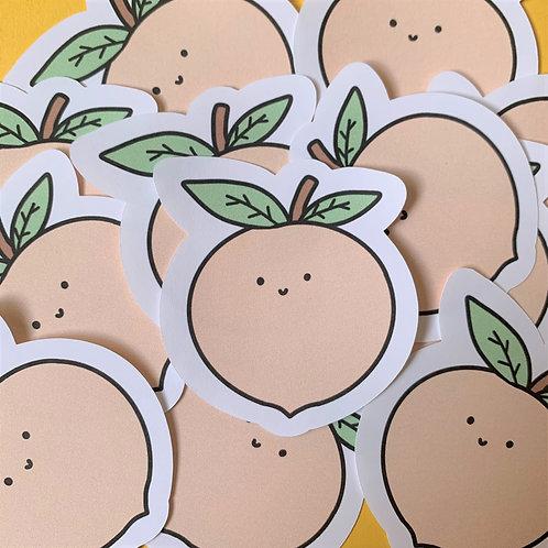 Matte Happy Peach Die Cut Sticker