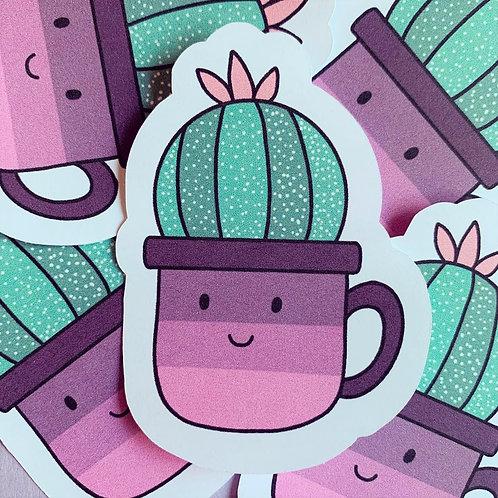Matte Cactus Coffee Cup Die Cut Sticker
