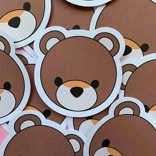 Matte Teddy Bear Die Cut Sticker
