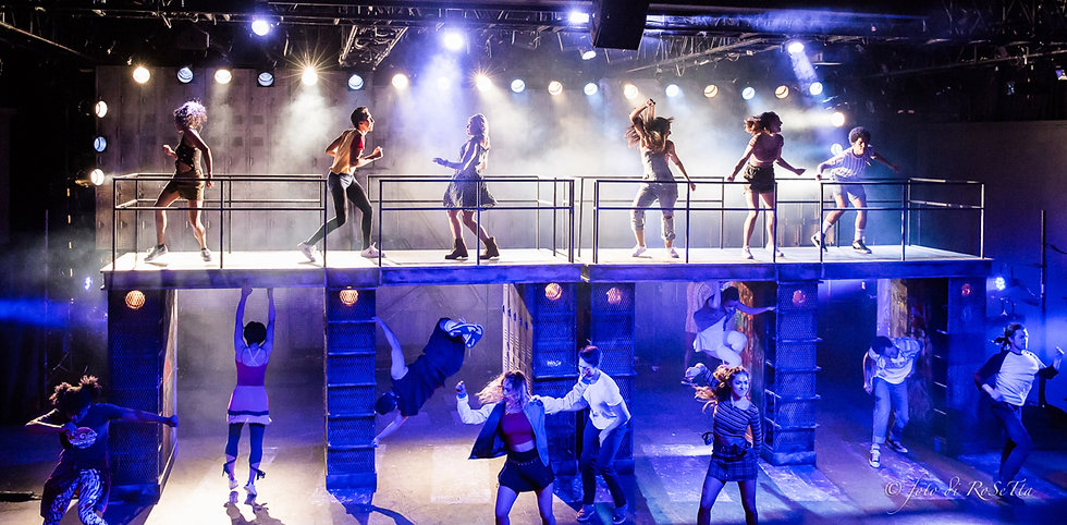 Actors dancing as part of GALA's production of FAME The Musical in 2019