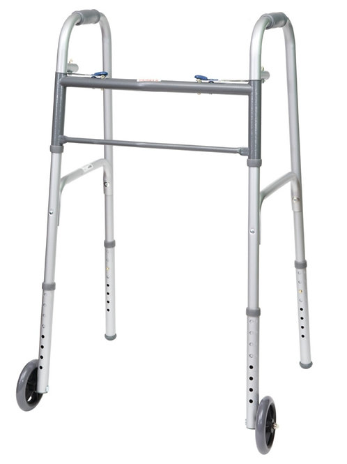 "ProBasics Economy Two-Button Folding Steel Walker with 5"" Wheels, (Adult)"