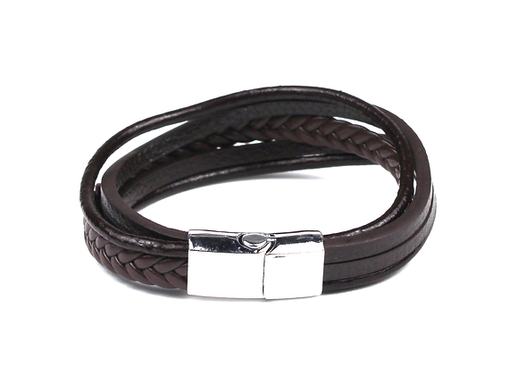 Triple Leather Silver & Brown