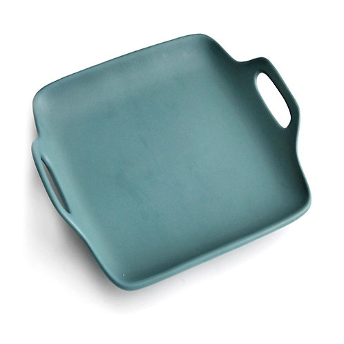 瑞典【GREEGREEN】雙耳方型陶瓷餐盤 11吋(墨黑)