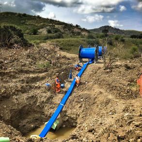 Riabilitazione acquedotto DN900 PN30 con più tubolari all'interno della condotta esistente.