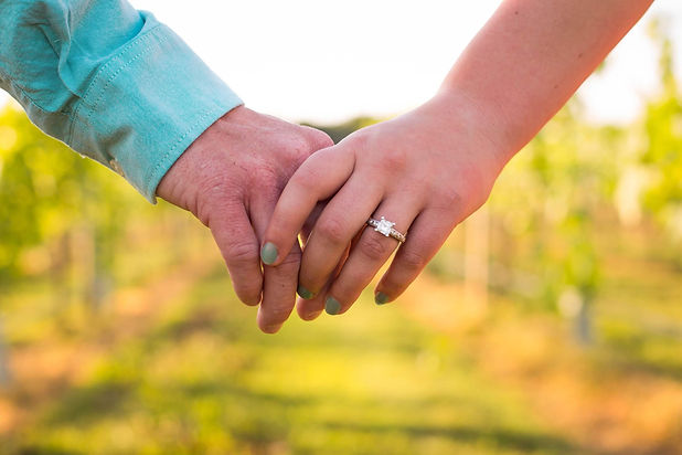 Holding hands, in between vines, sunset in the background