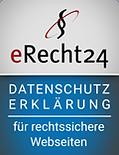 Siegel von eRecht24 zur Datenschutzerklärung