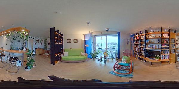 360-Grad-Bild eines Wohnzimmers