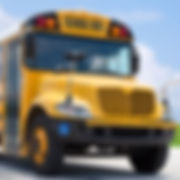 School bus on blacktop with clean sunny