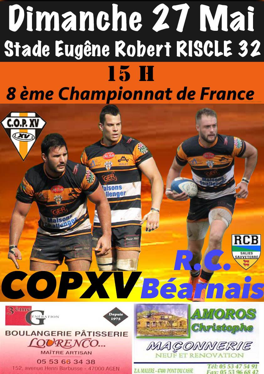 8ème de Finale Cham. de France dimanche 27 Mai 15h à RISCLE 32 entre COPXV - R.C. Béarnais