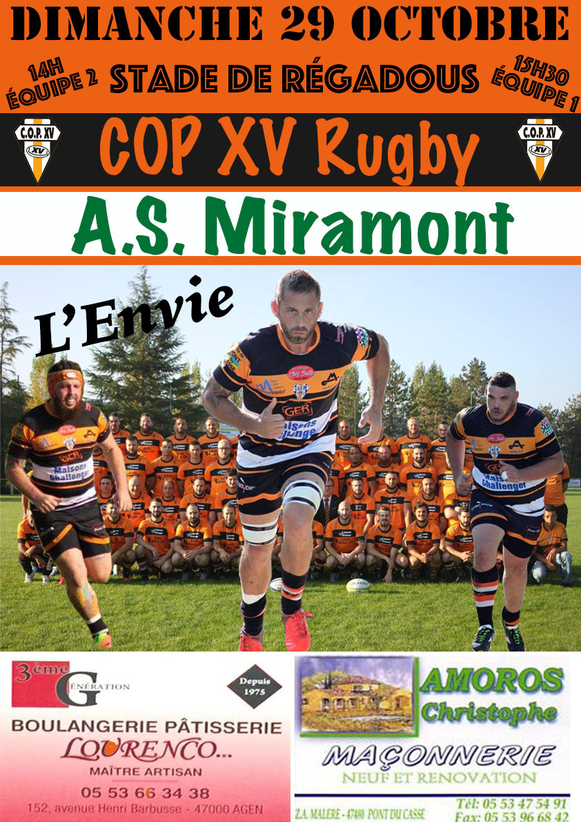 L'affiche du prochain match COPXV - AS Miramont