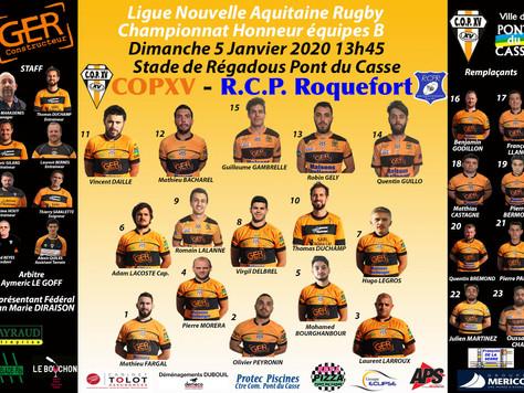 La Compo de la B du COPXV contre R.C. Pays de Roquefort dimanche 5 janvier 2020 à Régadous à 13h45