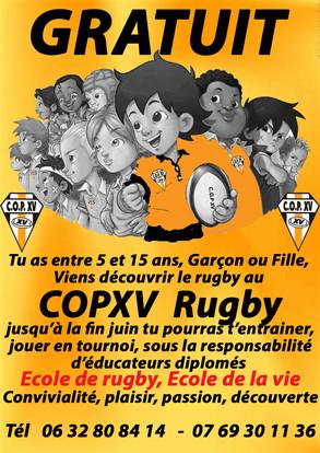 Garçon ou Fille viens jouer au rugby GRATUITEMENT au COPXV jusqu'a la fin juin
