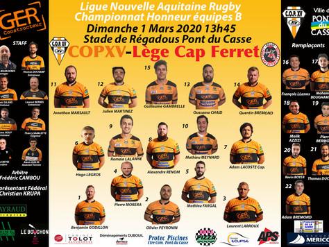 La Compo de l'équipe B du COPXV contre R.C. Lège Cap Ferret le dimanche 1 mars 13h45 à Régadous