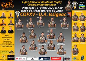 La Compo du COPXV contre U.A.Issigeac le dimanche 16 Février 2020 au stade de Régadous Pont du Casse