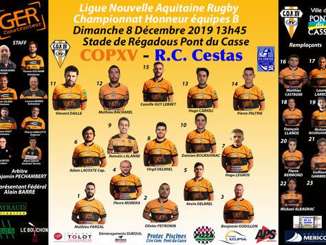 La Compo de l'équipe B contre R.C. Cestas Dimanche 8 Décembre 2019 à 13h45 à Régadous Pont du Ca