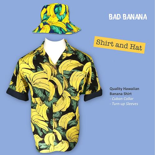 Mens Banana Hawaiian Festival Shirt + Hat