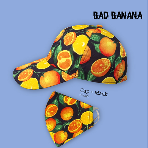 Fruity Baseball Cap + Mask - Orange