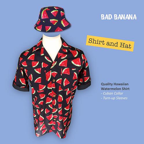 Men's Watermelon Hawaiian Festival Shirt + Hat