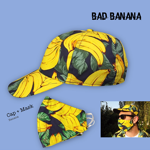 Fruity Baseball Cap + Mask - Banana