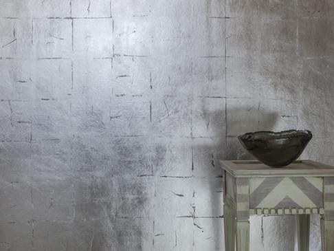 Silberquadrat auf Schwarz Detail mit Dek