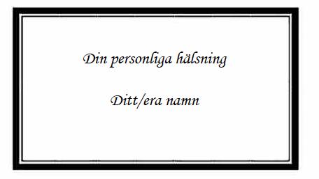 Handtextat kort med hälsning