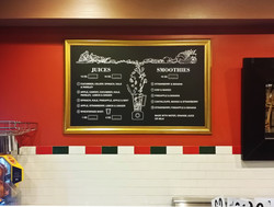 Painted menu, framed and installled.