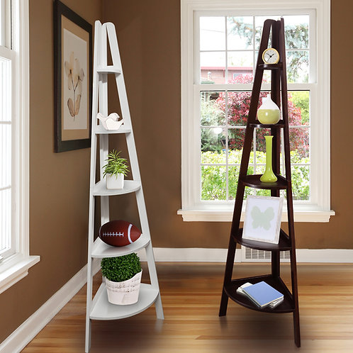 5-Shelf Corner Ladder Bookcase
