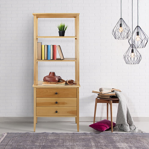 Edison Bookcase with Drawers with Solid American Maple