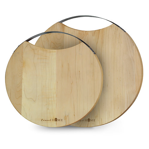 Riviera Maple Round Cutting Board with Handle