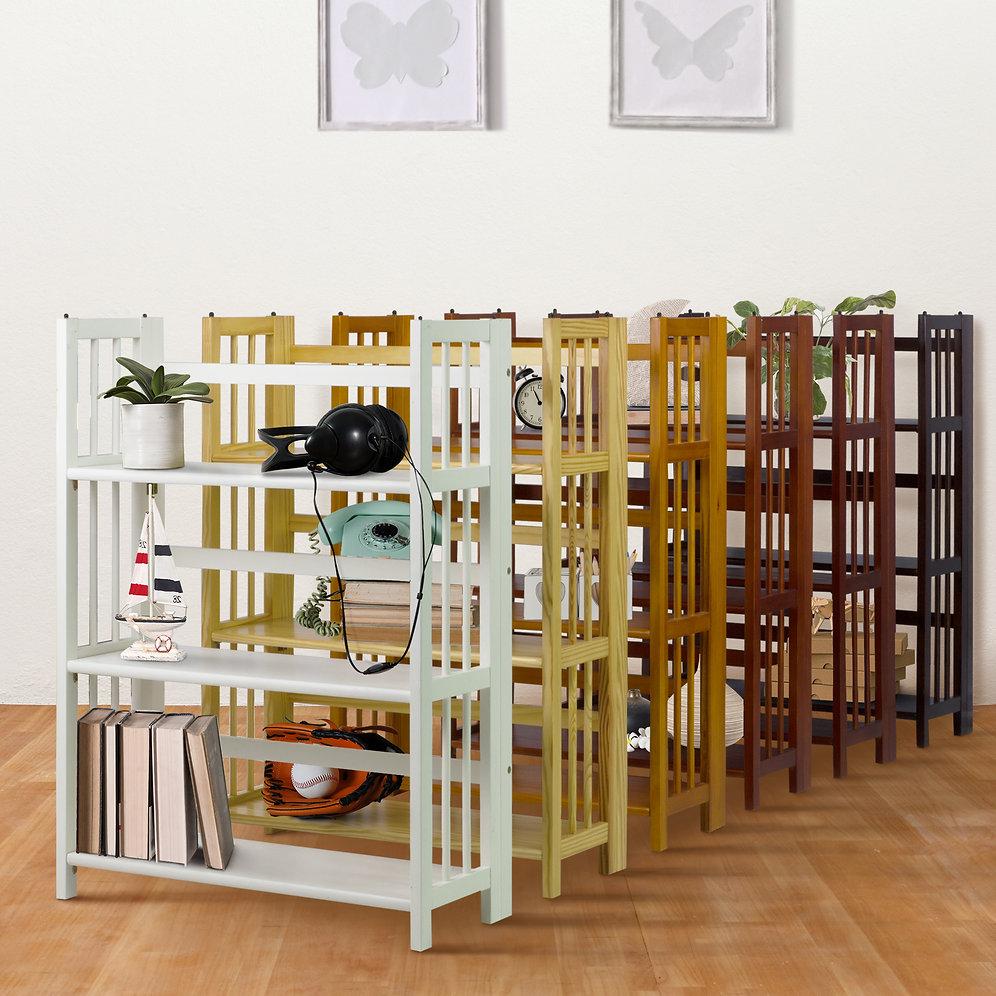3 Shelf Folding Stackable Bookcase 27 5 Quot Wide Yu Shan Co Usa Ltd