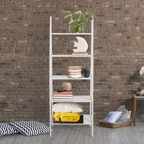 5-Shelf Ladder Bookcase-White