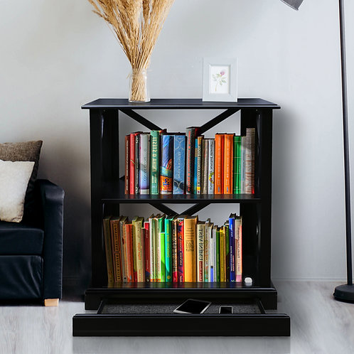 Jackson 3-Shelf Bookcase with Concealed Drawer