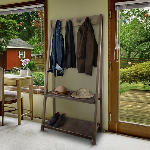 Essex Folding Coat Rack with Two Shelves