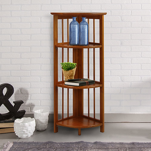4-Shelf Corner Folding Bookcase