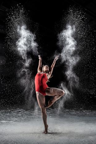 Gymnast Throwing Flour