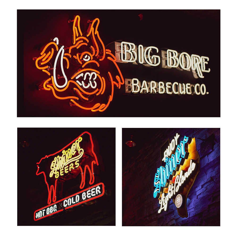 Interior neon signs at Big Bore Barbecue in Rogers, MN