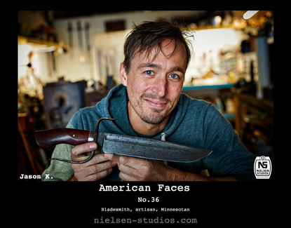 American Faces #36. Photo taken by Nielsen Studios Inc of Minnesota for the American Faces Series.  Available light, Minneapolis, Minnesota, people photography, location photography, flash photography, lighting, bladesmith, forge