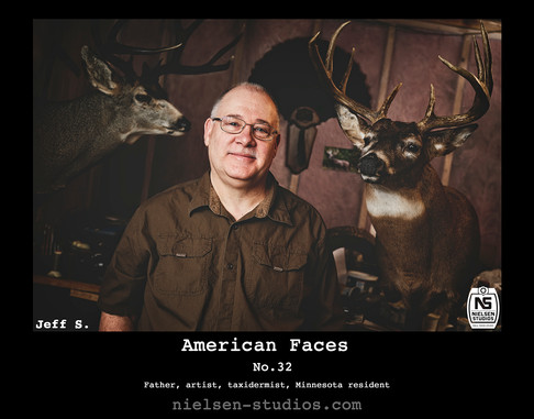 American Faces #1. Photo taken by Nielsen Studios Inc of Minnesota for the American Faces Series.  Available light, Minneapolis, Minnesota, people photography, location photography, flash photography, lighting,taxidermist