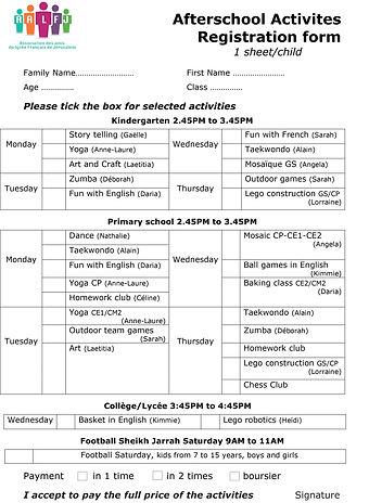 After school registration form activitie