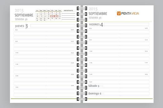muestra agenda personalizada 2018 dia por pagina