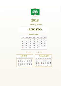 calendario agenda personalizada 2018
