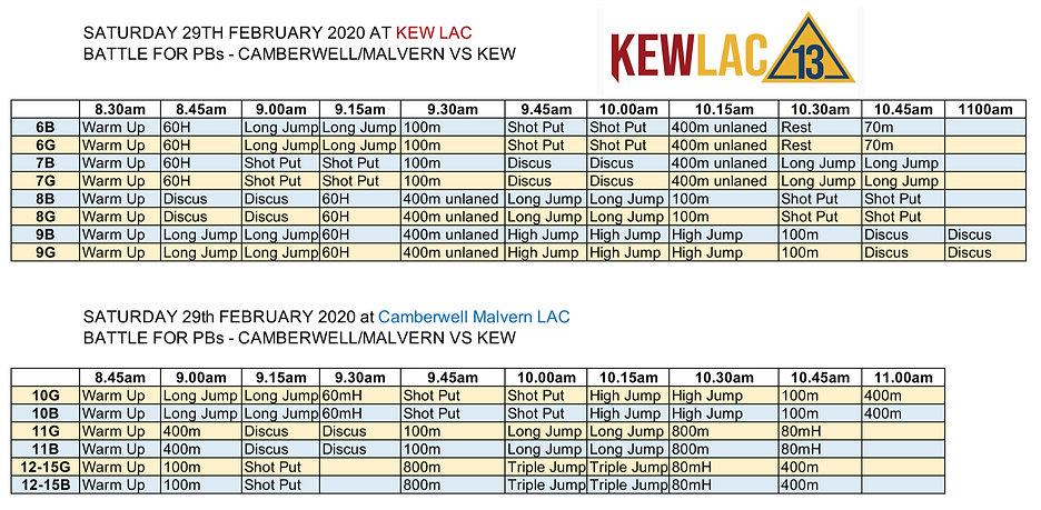 Kew LAC Summer 2019-2020 PB Battle sched