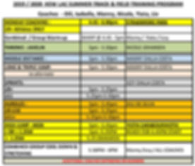 KEW LAC COACHING MONDAY SCHEDULE FOR 201